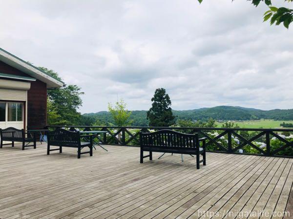 紫陽花と見附一望の「水道山公園」