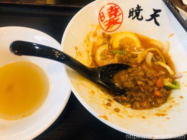おぢや麺フェスコラボ!暁天×わたや平沢店「肉ベジまぜそば