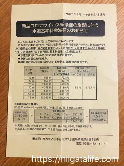 小千谷/水道代が半年間半額に!新型コロナウイルス感染症の嬉しい経済対策