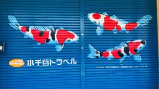 小千谷市内の街角には錦鯉がいっぱい!シャッターアート、錦鯉モチーフ、花火など